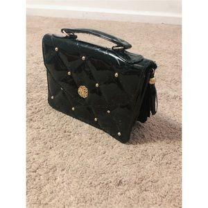 Handbags - Top Handle Black Patent Leather Quilted Handbag